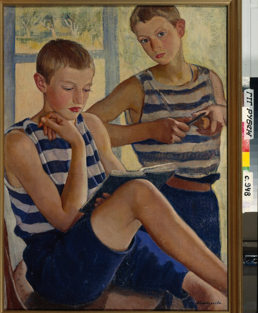 Stock Photo: 4266-23460 The boys in striped vests by Serebriakova, Zinaida Yevgenievna (1884-1967)/ State Tretyakov Gallery, Moscow/ 1919/ Russia/ Oil on canvas/ Russian Painting, End of 19th - Early 20th cen./ 80x60/ Portrait,Genre