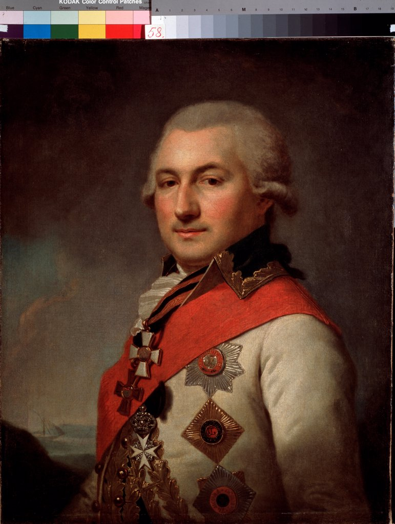 Portrait of the Admiral Jose de Ribas (1749-1800), founder of Odessa by Lampi, Johann-Baptist von, the Elder (1751-1830)/ State Art Museum, Odessa/ Austria/ Oil on canvas/ Classicism/ Portrait : Stock Photo