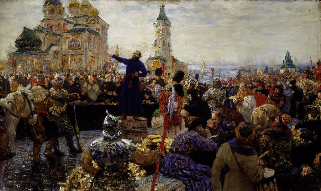 Stock Photo: 4266-23489 Minin appeals to the people of Nizhny Novgorod in 1611 by Repin, Ilya Yefimovich (1844-1930)/ I. Repin Memorial Museum Penates near Sankt Petersburg/ 1876/ Russia/ Oil on canvas/ Russian Painting of 19th cen./ 97x156/ History