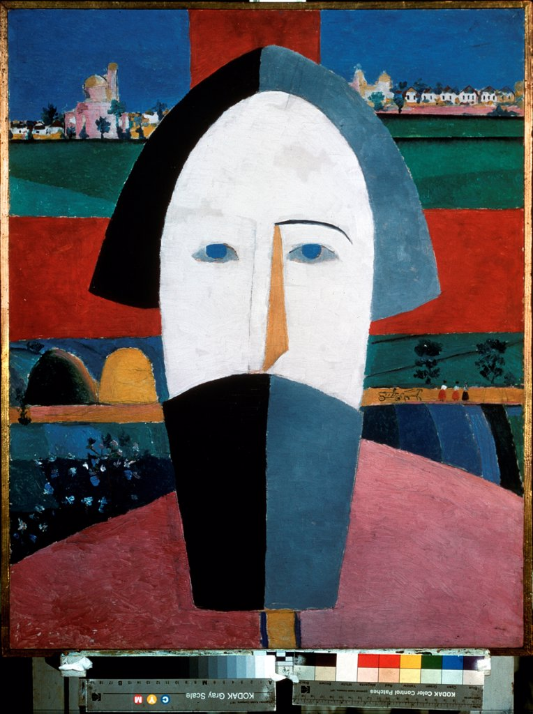 Stock Photo: 4266-23506 Head of a peasant by Malevich, Kasimir Severinovich (1878-1935)/ State Russian Museum, St. Petersburg/ 1928-1932/ Russia/ Oil on playwood/ Russian avant-garde/ 69x55/ Genre