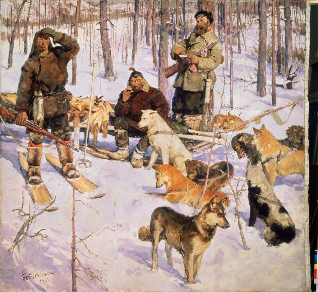 Stock Photo: 4266-23509 In the Taiga by Petrov-Maslakov, Vsevolod Mikhailovich (*1930)/ State Russian Museum, St. Petersburg/ 1961/ Russia/ Oil on canvas/ Soviet Art/ 238x250/ Genre,Animals and Birds