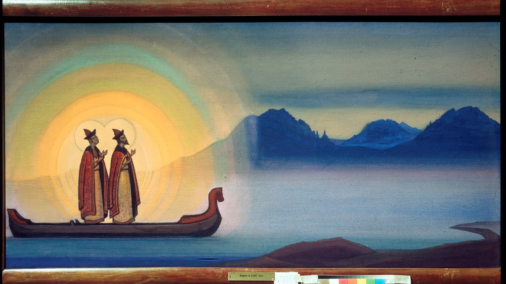 Stock Photo: 4266-23528 The Saints Boris and Gleb by Roerich, Nicholas (1874-1947)/ State Russian Museum, St. Petersburg/ 1942/ Russia/ Tempera on canvas/ Symbolism/ 61x123/ Bible,Mythology, Allegory and Literature