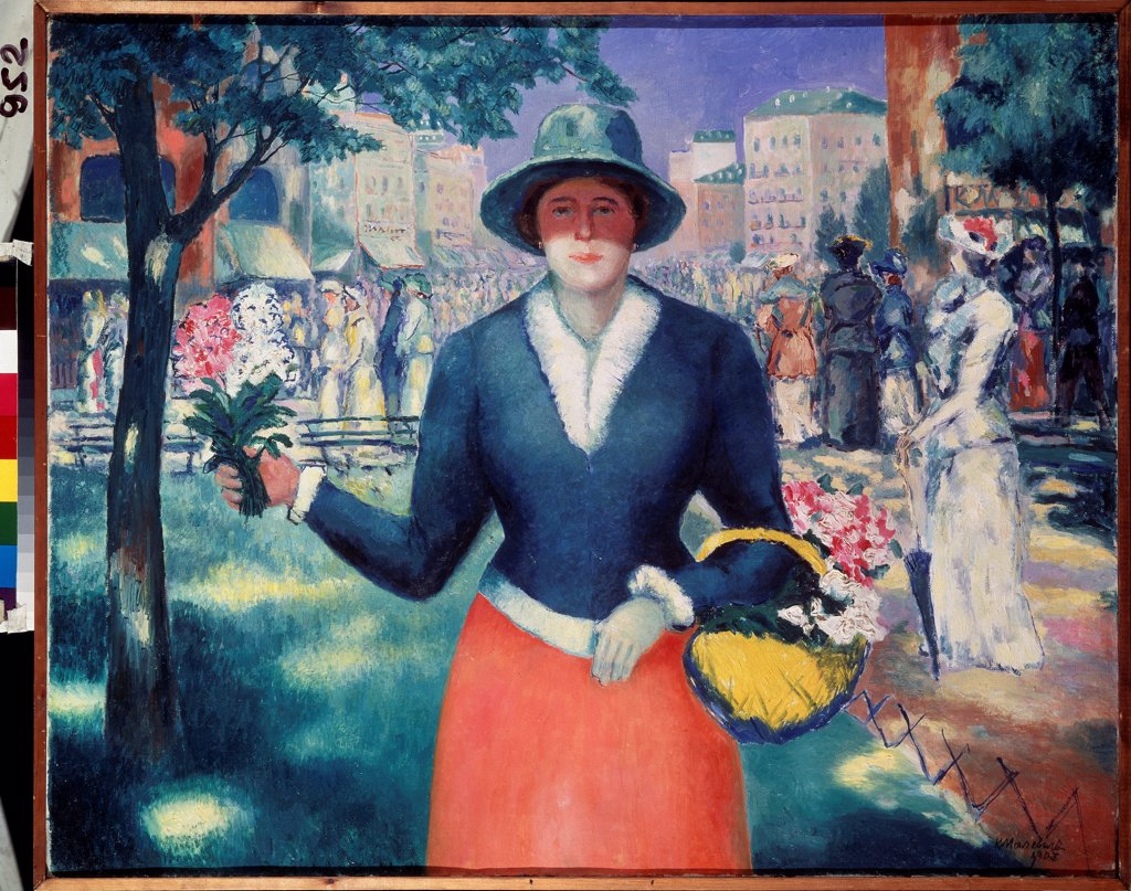 Stock Photo: 4266-23540 A Flower Girl by Malevich, Kasimir Severinovich (1878-1935)/ State Russian Museum, St. Petersburg/ 1903/ Russia/ Oil on canvas/ Postimpressionism/ 80x100/ Genre