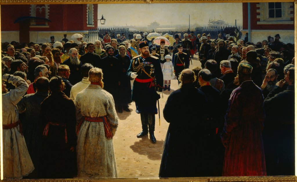 Stock Photo: 4266-23544 Alexander III receiving rural district elders in the yard of Petrovsky Palace in Moscow by Repin, Ilya Yefimovich (1844-1930)/ State Tretyakov Gallery, Moscow/ 1886/ Russia/ Oil on canvas/ Russian Painting of 19th cen./ 293x490/ Portrait,Genre