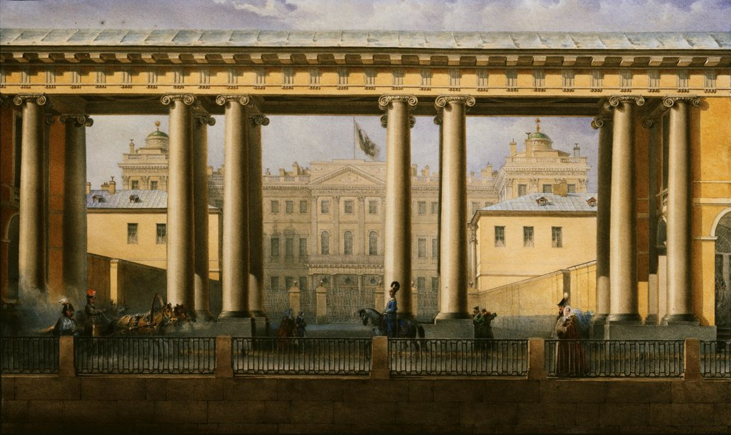 The Anichkov Palace in Saint Petersburg by Sadovnikov, Vasily Semyonovich (1800-1879)/ Institut of Russian Literature IRLI (Pushkin-House), St Petersburg/ 1838/ Russia/ Watercolour and white colour on paper/ Russian Painting of 19th cen./ 23,5x38,8/ Arch : Stock Photo