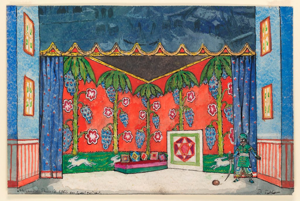 Stock Photo: 4266-23564 Stage design for the ballet 'Petrushka' by I. Stravinsky by Benois, Alexander Nikolayevich (1870-1960)/ State Museum of Theatre and Music Art, St. Petersburg/ 1911/ Russia/ Watercolour, Gouache on Paper/ Theatrical scenic painting/ Opera, Ballet, Theatre