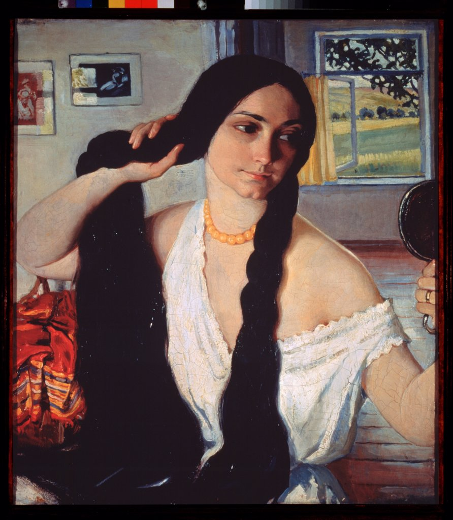 Portrait of Olga Lanceray by Serebriakova, Zinaida Yevgenievna (1884-1967)\ Private Collection\ 1910\ Oil on canvas\ 69x61\ Russia\ Russian Painting, End of 19th - Early 20th cen.\ Portrait,Genre\ Painting : Stock Photo