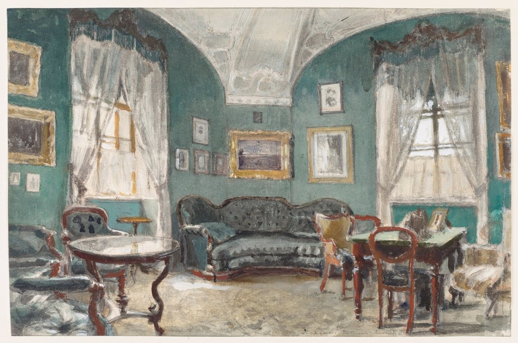 Stock Photo: 4266-23581 The Study of Emperor Alexander II in the Gatchina Palace by Benois, Alexander Nikolayevich (1870-1960)\ Private Collection\ 1920s\ Pencil, watercolour, Gouache, ink on paper\ 30,6x46,8\ Russia\ Realism\ Architecture, Interior\ Graphic arts