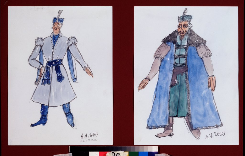Stock Photo: 4266-23620 Costume design for the ballet The Fountain of Bahcesaray by B. Asafiev by Vasilyev, Alexander Alexandrovich (*1958)\ A. Pushkin Memorial Museum, St. Petersburg\ 2000\ Watercolour, Gouache on Paper\ Russia\ Theatrical scenic painting\ Opera, Ballet, Theat