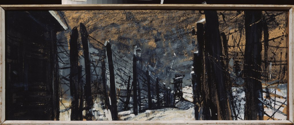 Prisoner-of-war camp. Stage design for the feature film Chistye prudy by Plastinkin, Ivan Nikolayevich (1929-1997)\ State Museum- and exhibition Centre ROSIZO, Moscow\ 1967\ Gouache and ink on paper\ 40x100\ Russia\ Theatrical scenic painting\ Opera, Bal : Stock Photo