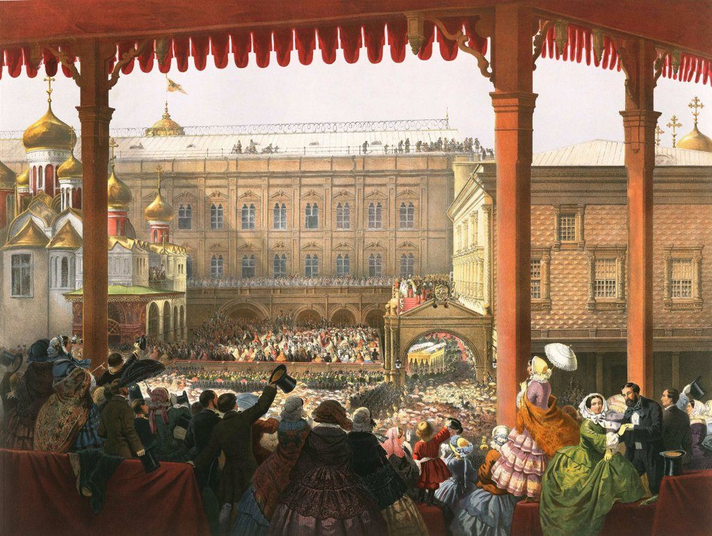 Stock Photo: 4266-2370 Crowd of people by anonymous artist, color lithograph, 1856, Russia, Moscow, State History Museum