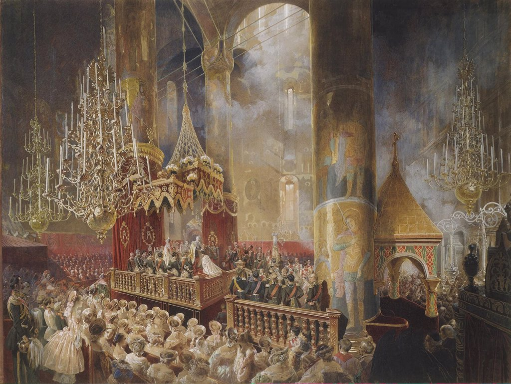 In church by Mihaly Zichy, watercolor, gouache, white color, ink on paper, 1857, 1827-1906, Russia, St. Petersburg, State Hermitage, 52, 7x70 : Stock Photo