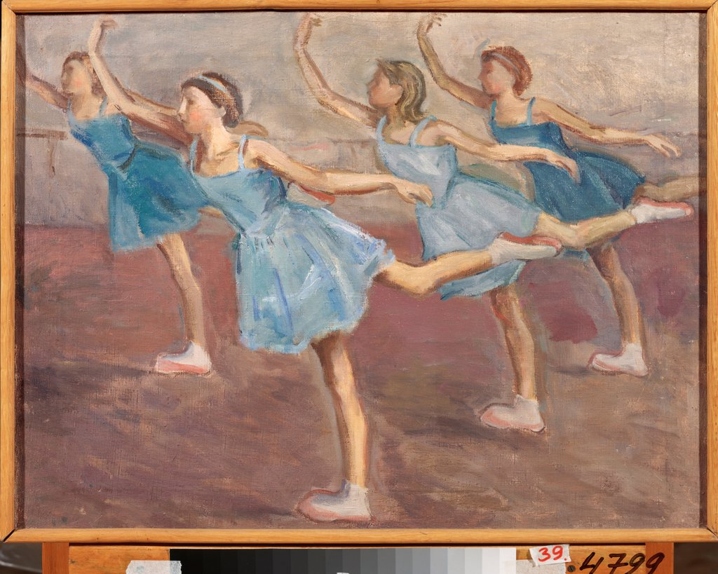 Stock Photo: 4266-23828 In a Ballet School by Chernyshev, Nikolai Mikhailovich (1885-1973)\ Regional Art Gallery, Tchelyabinsk\ 1926\ Oil on canvas\ Russia\ Modern\ Genre\ Painting