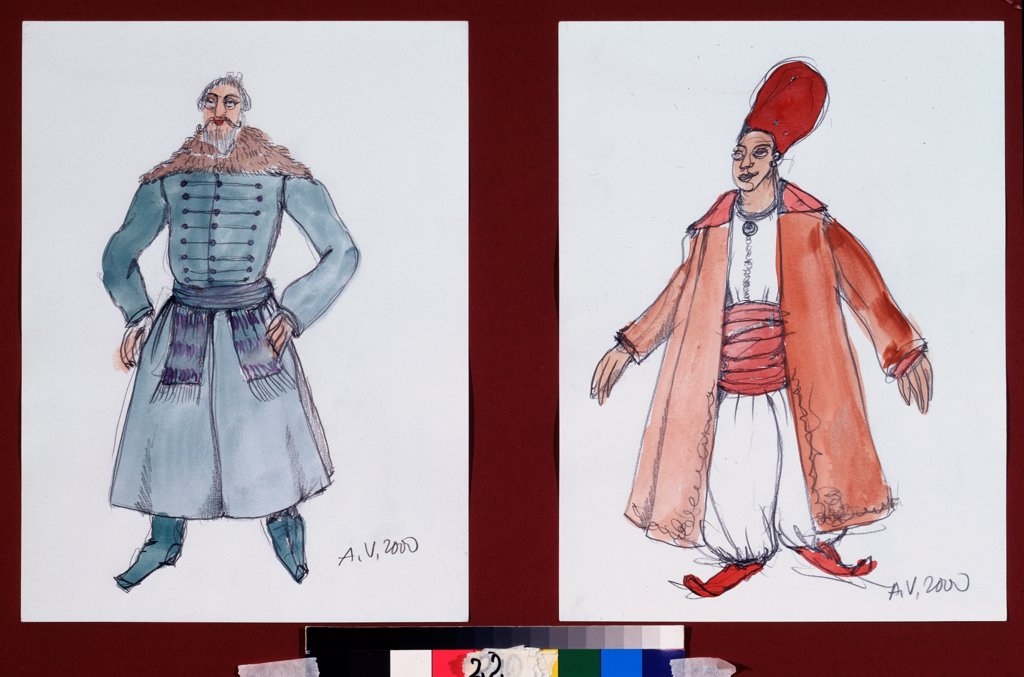 Stock Photo: 4266-23839 Costume design for the ballet The Fountain of Bahcesaray by B. Asafiev by Vasilyev, Alexander Alexandrovich (*1958)\ A. Pushkin Memorial Museum, St. Petersburg\ 2000\ Watercolour, Gouache on Paper\ Russia\ Theatrical scenic painting\ Opera, Ballet, Theat
