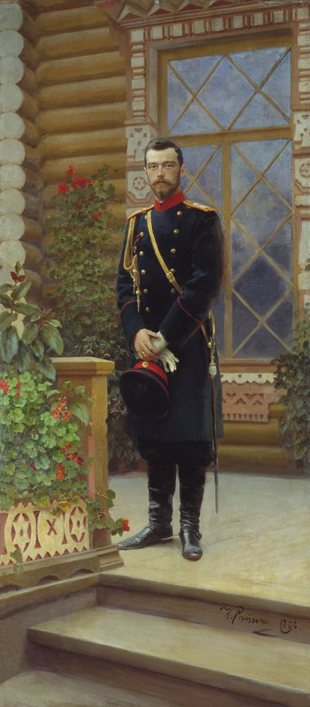Emperor Nicholas II by Ilya Yefimovich Repin, oil on canvas, 1896, 1844-1930, Russia, Moscow, State History Museum : Stock Photo