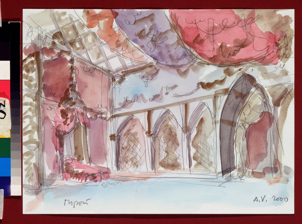 Stock Photo: 4266-23901 Stage design for the ballet The Fountain of Bahcesaray by B. Asafiev by Vasilyev, Alexander Alexandrovich (*1958)\ A. Pushkin Memorial Museum, St. Petersburg\ 2000\ Watercolour, Gouache on Paper\ Russia\ Theatrical scenic painting\ Opera, Ballet, Theatre