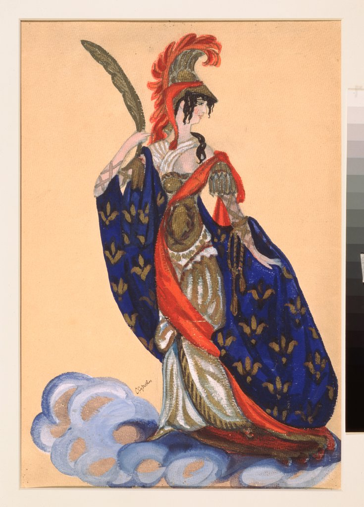 Stock Photo: 4266-23917 Costume design for the theatre play Triumph of the States by A. Bobrishchev-Pushkin by Sudeykin, Sergei Yurievich (1882-1946)\ State A. Radishchev Art Museum, Saratov\ 1914\ Watercolour, Gouache, tempera on cardboard\ 50x33,7\ Russia\ Theatrical scenic p
