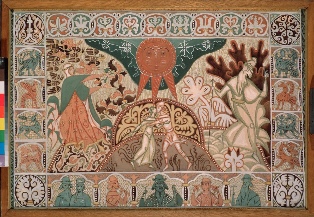 Curtain design for the opera Snow Maiden by N. Rimsky-Korsakov by Stelletsky, Dmitri Semyonovich (1875-1947)\ State Tretyakov Gallery, Moscow\ Gouache on paper\ 68x100\ Russia\ Theatrical scenic painting\ Opera, Ballet, Theatre\ Painting : Stock Photo
