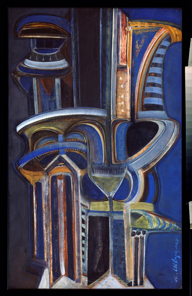 Stock Photo: 4266-23965 Ierature by Schwarzman, Mikhail Matveyevich (1926-1997)\ Private Collection\ Early 1980s\ Tempera on panel\ 73x46\ Russia\ Modern\ Abstract Art\ Painting