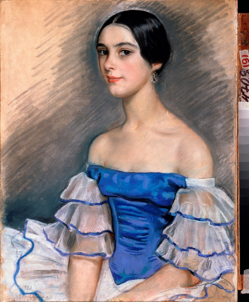 Stock Photo: 4266-24041 Portrait of the ballet dancer Ekaterina Heidenreich in Blue by Serebriakova, Zinaida Yevgenievna (1884-1967)\ Regional A. Deineka Art Gallery, Kursk\ 1923\ Pencil, pastel on cardboard\ 61,9x41,8\ Russia\ Modern\ Opera, Ballet, Theatre,Portrait\ Painting