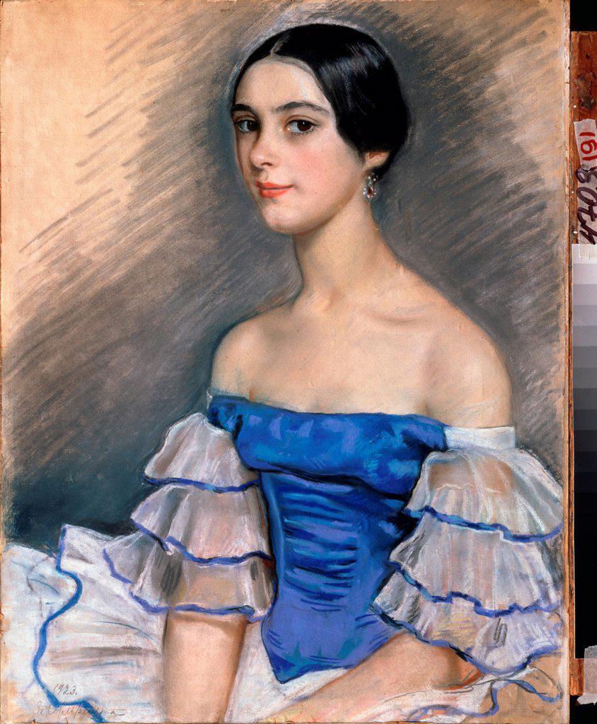 Stock Photo: 4266-24041 Portrait of the ballet dancer Ekaterina Heidenreich in Blue by Serebriakova, Zinaida Yevgenievna (1884-1967)\ Regional A. Deineka Art Gallery, Kursk\ 1923\ Pencil, pastel on cardboard\ 61,9x41,8\ Russia\ Modern\ Opera, Ballet, Theatre,Portrait\ Painting