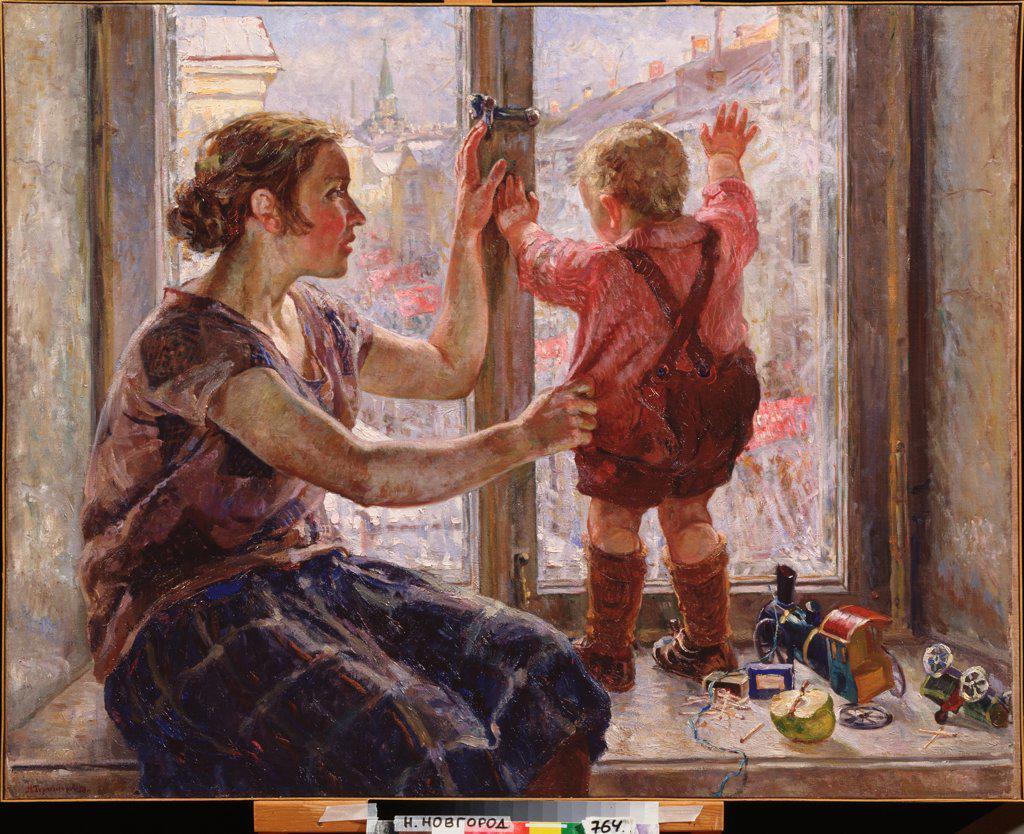 Stock Photo: 4266-24072 Window on the World by Terpsikhorov, Nikolai Borisovich (1890-1960)\ State Art Museum, Nizhny Novgorod\ 1928\ Oil on canvas\ 97x125\ Russia\ Soviet Art\ Genre\ Painting