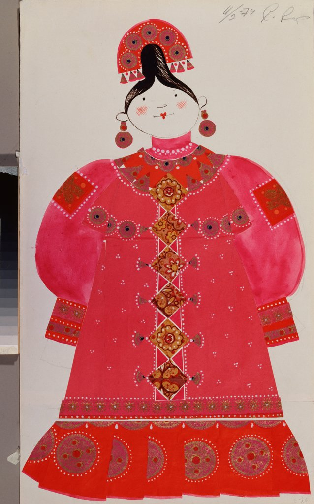 Costume design for the theatre play The Tale of Tsar Saltan by A. Pushkin by Sokolova, Marina Alexeyevna (1934-1992)\ A. Pushkin Memorial Museum, St. Petersburg\ 1974\ Collage and tempera on paper\ 56x32\ Russia\ Theatrical scenic painting\ Opera, Ballet : Stock Photo