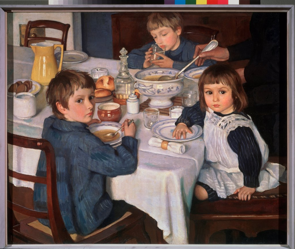 Stock Photo: 4266-24116 At Lunch by Serebriakova, Zinaida Yevgenievna (1884-1967)\ State Tretyakov Gallery, Moscow\ 1914\ Oil on canvas\ 88,5x107\ Russia\ Russian Painting, End of 19th - Early 20th cen.\ Genre\ Painting