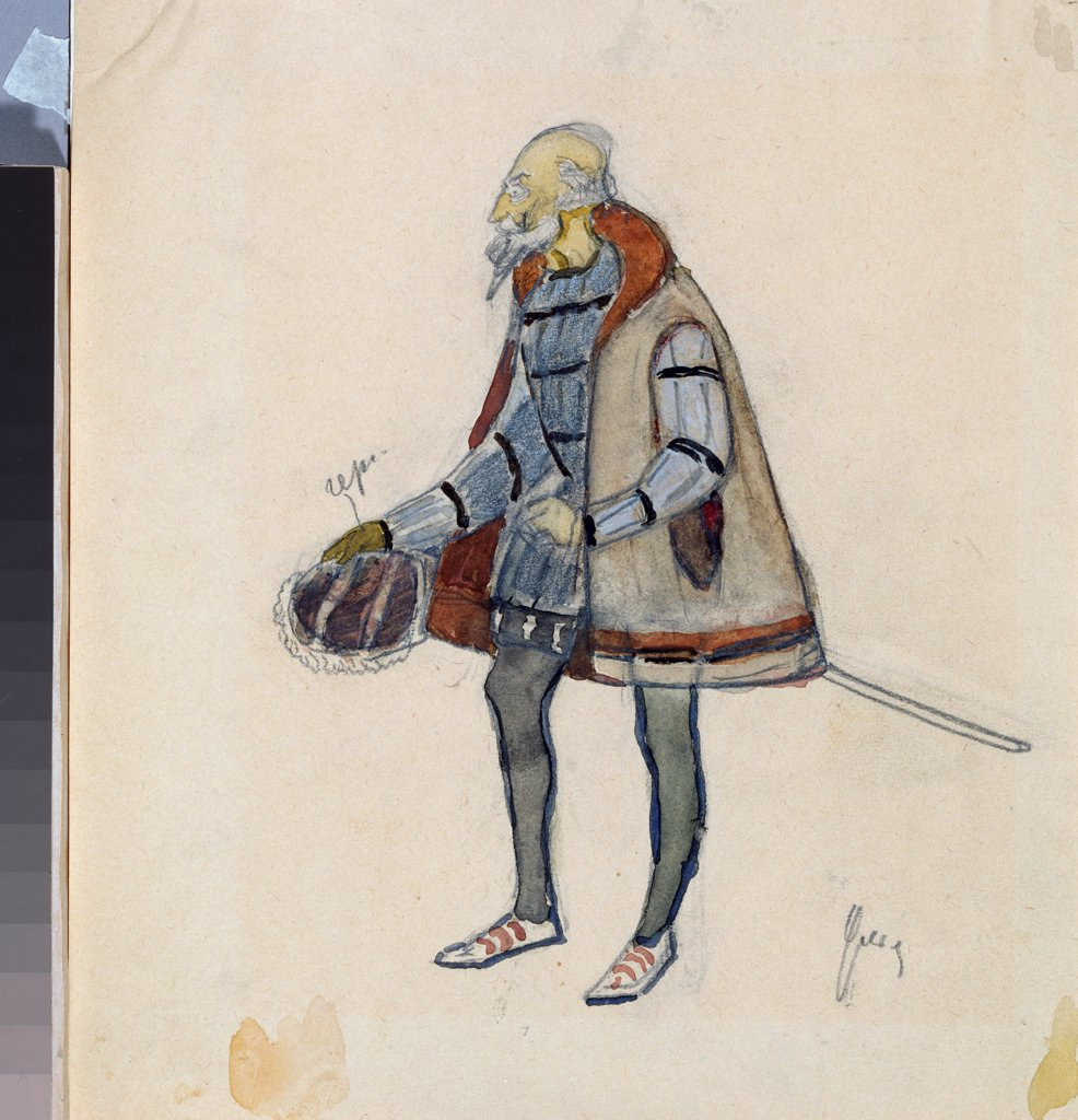Costume design for the theatre play The Miserly Knight by A. Pushkin by Ulyanov, Nikolai Pavlovich (1875-1949)\ A. Pushkin Memorial Museum, St. Petersburg\ 1918\ Pencil, watercolour on paper\ 19,2x11,4\ Russia\ Theatrical scenic painting\ Opera, Ballet, : Stock Photo