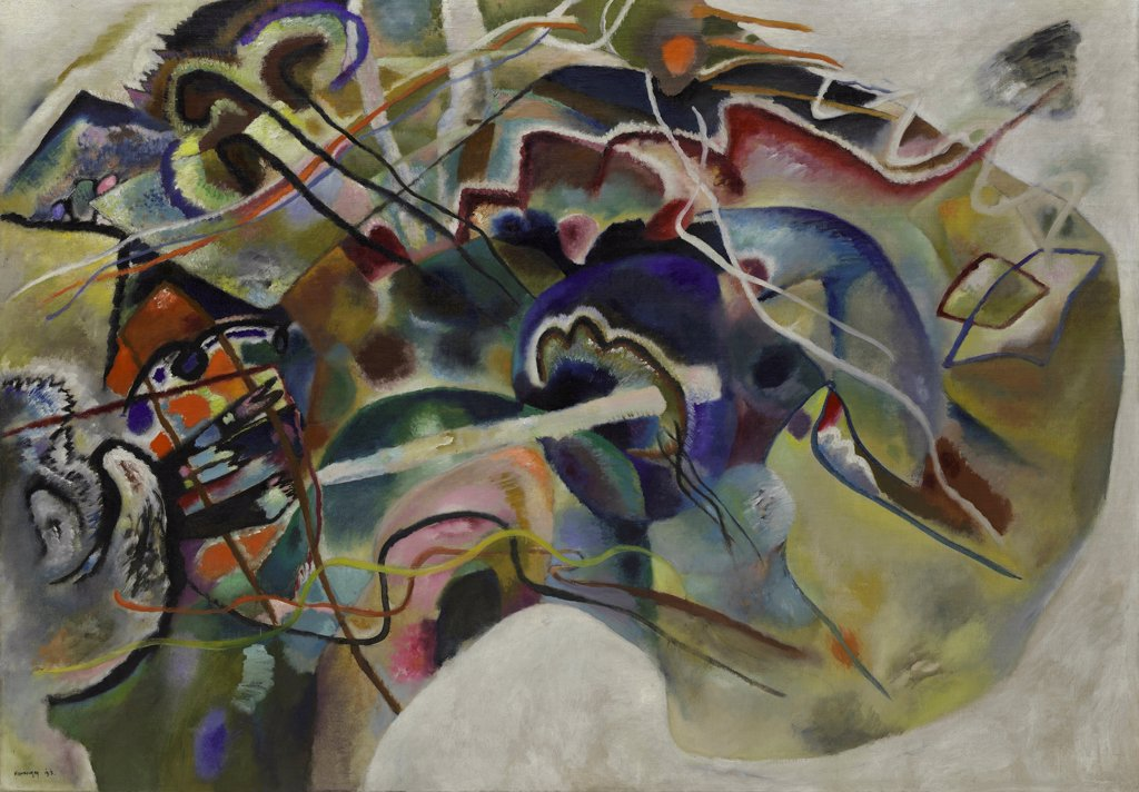 Stock Photo: 4266-24178 Painting with White Border by Kandinsky, Wassily Vasilyevich (1866-1944)\ Solomon R. Guggenheim Foundation, New York\ 1913\ Oil on canvas\ 140,3x200\ Russia\ Abstract expressionism\ Abstract Art\ Painting