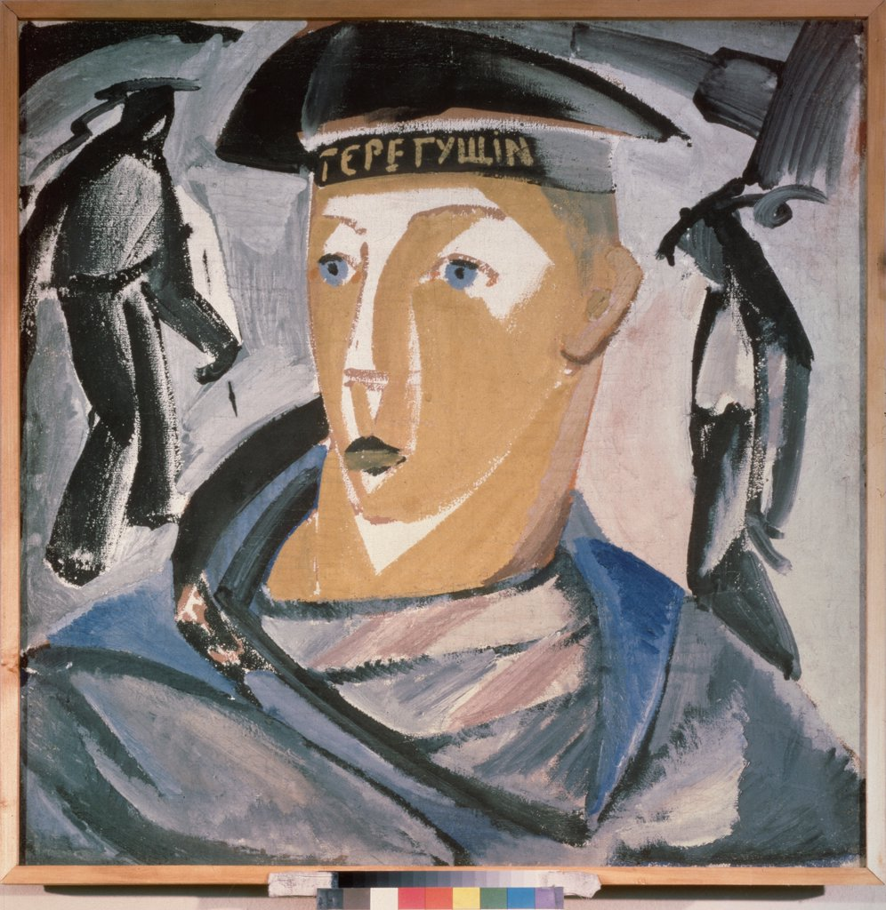 Stock Photo: 4266-24247 Seaman. Self-portrait by Tatlin, Vladimir Evgraphovich (1885-1953)\ State Russian Museum, St. Petersburg\ 1911\ Tempera on canvas\ 71,5x71,5\ Russia\ Russian avant-garde\ Portrait\ Painting