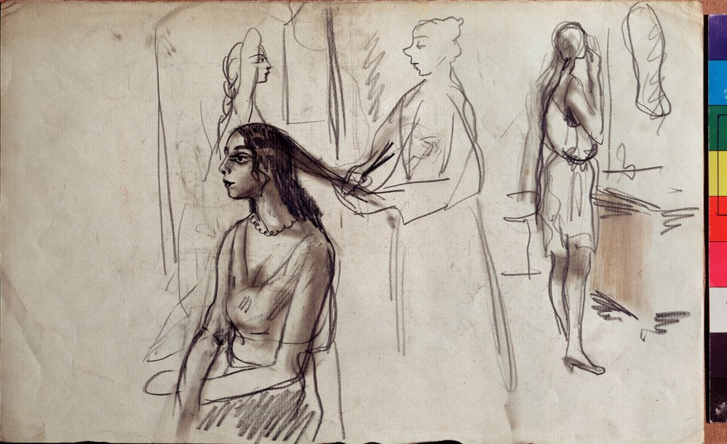 In a changing room by Serebriakova, Zinaida Yevgenievna (1884-1967)\ State Art Museum, Tomsk\ Pen, brush, ink on paper\ 22,3x35,7\ Russia\ Russian Painting, End of 19th - Early 20th cen.\ Genre\ Graphic arts : Stock Photo