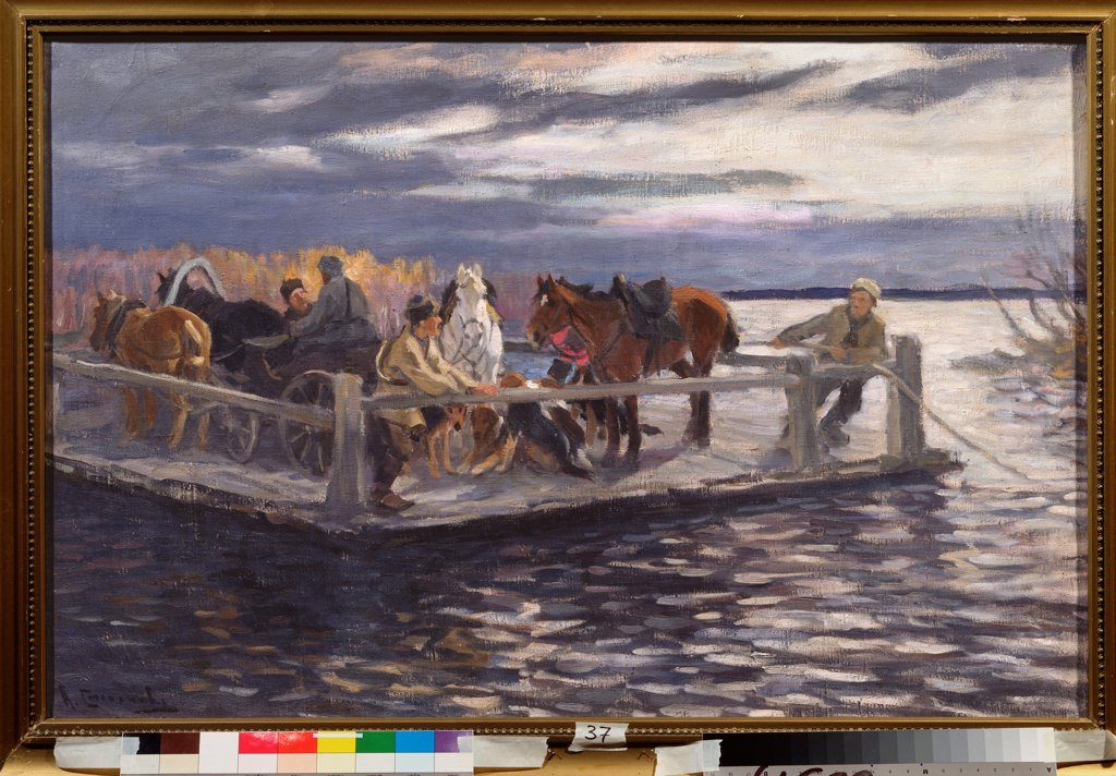 A Ferry by Stepanov, Alexei Stepanovich (1858-1923)\ State Open-air Museum Rostov Kremlin, Rostov\ 1900s\ Oil on canvas\ 90x105\ Russia\ Russian Painting, End of 19th - Early 20th cen.\ Genre\ Painting : Stock Photo