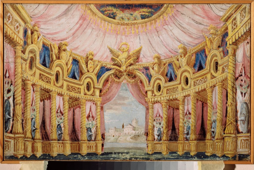 Stock Photo: 4266-24324 Hall with a collonade. Stage design for a theatre play by Russian master  \ Museum Palace Theatre Ostankino, Moscow\ 1790-1800\ Tempera on canvas\ Russia\ Theatrical scenic painting\ Opera, Ballet, Theatre\ Painting