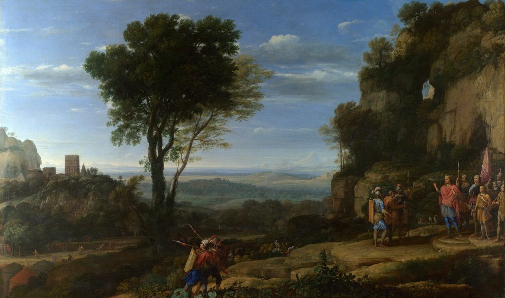 Landscape with David at the Cave of Adullam by Lorrain, Claude (1600-1682)\ National Gallery, London\ 1658\ Oil on canvas\ 111,4x187\ France\ Baroque\ Landscape,Bible\ Painting : Stock Photo