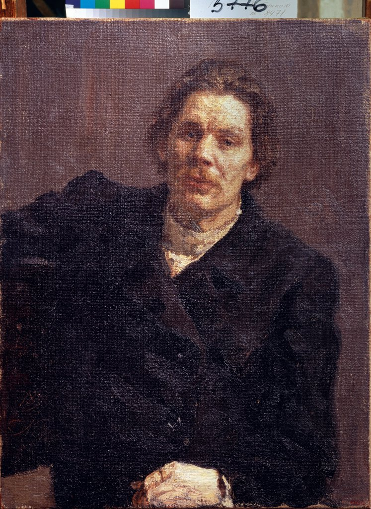Stock Photo: 4266-24357 Portrait of the author Maxim Gorky (1868-1939) by Repin, Ilya Yefimovich (1844-1930)\ State Russian Museum, St. Petersburg\ 1899\ Oil on canvas\ 75x57\ Russia\ Russian Painting, End of 19th - Early 20th cen.\ Portrait\ Painting