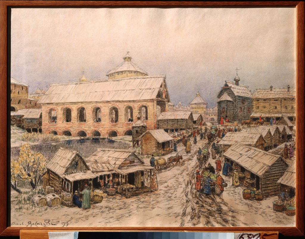 Stock Photo: 4266-24361 Moscow in the 17th Century. The Resurrection Bridge by Vasnetsov, Appolinari Mikhaylovich (1856-1933)\ State Art Museum, Nizhny Novgorod\ 1913\ Watercolour and coal on paper\ 49,8x65,1\ Russia\ Russian Painting, End of 19th - Early 20th cen.\ Architectur