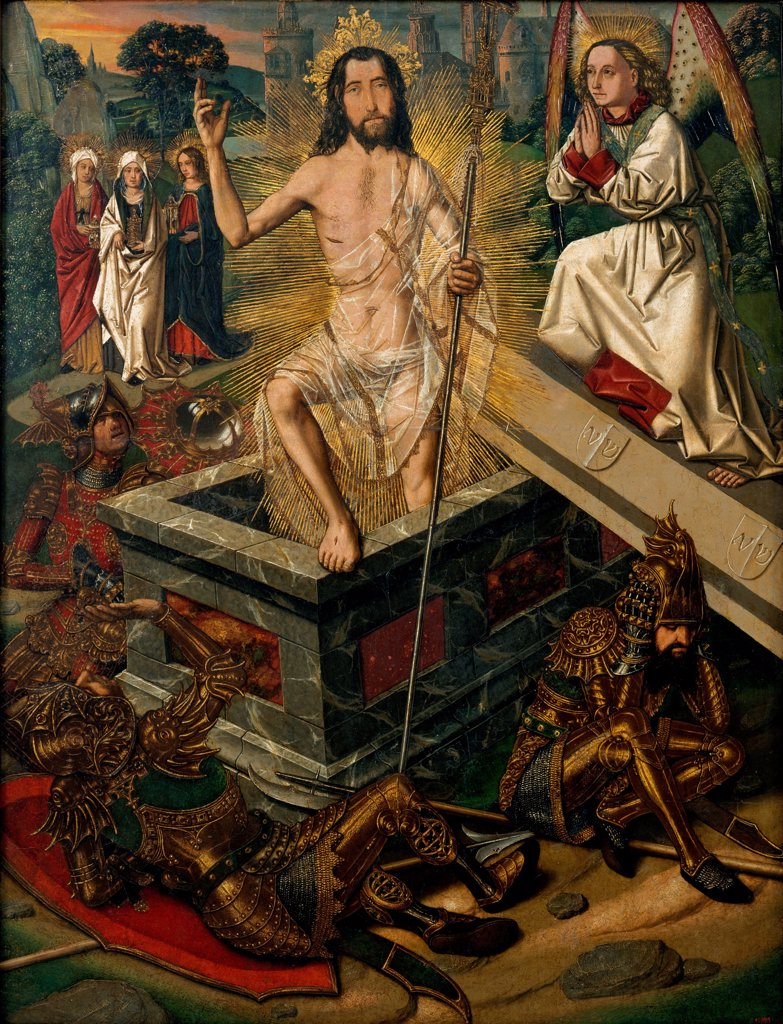 Stock Photo: 4266-24376 The Resurrection by Bermejo, Bartolome (ca 1440-ca 1498)\ Museu Nacional d'Art de Catalunya, Barcelona\ ca 1475\ Oil on wood\ 90x69\ Spain\ Gothic\ Bible\ Painting