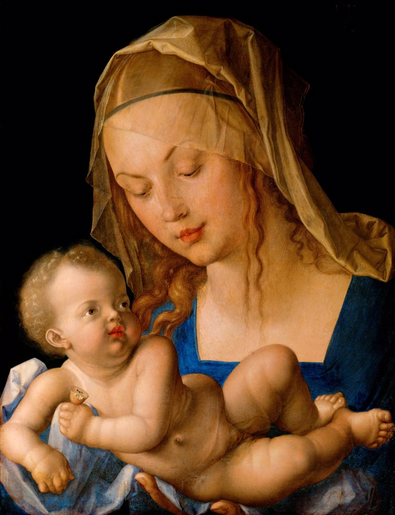 Stock Photo: 4266-24383 Virgin and child with a pear by Durer, Albrecht (1471-1528)\ Art History Museum, Vienne\ 1512\ Oil on wood\ 49x37\ Germany\ Renaissance\ Bible\ Painting