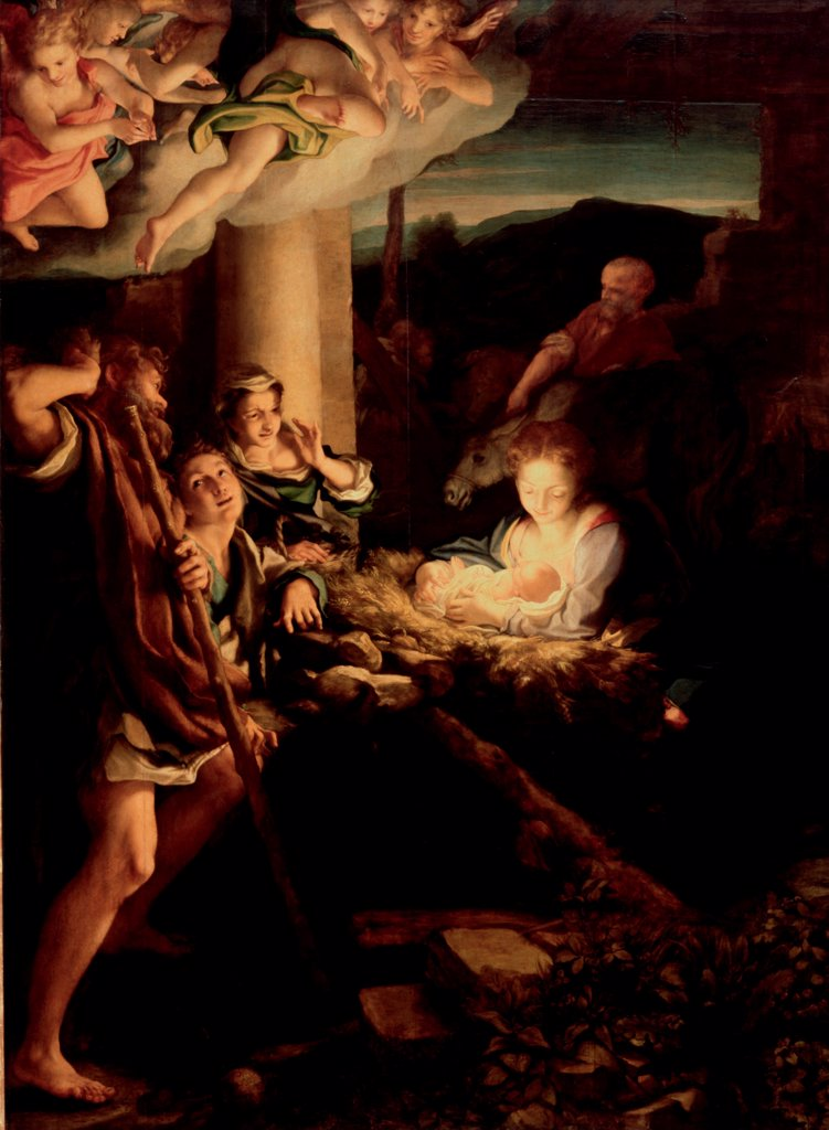 The Holy Night by Correggio (1489-1534)\ State Art Gallery, Dresden\ 1527-1530\ Oil on wood\ 256,5x188\ Italy, Parmese School\ Renaissance\ Bible\ Painting : Stock Photo