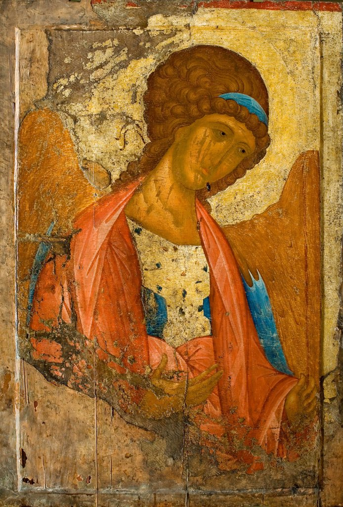 Stock Photo: 4266-24462 Saint Michael the Archangel by Rublev, Andrei (1360/70-1430)\ State Tretyakov Gallery, Moscow\ c.1410\ Tempera on panel\ 158x108\ Russia\ Russian icon painting\ Bible\ Painting
