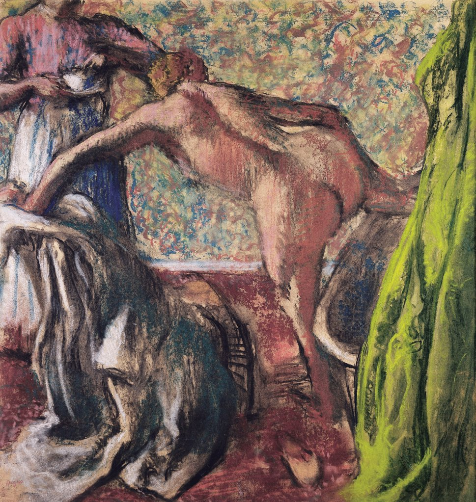Stock Photo: 4266-24464 Breakfast After the Bath (Le Petit Dejeuner apres le bain) by Degas, Edgar (1834-1917)\ Private Collection\ ca 1896\ Pastel on cardboard\ 82,5x79\ France\ Impressionism\ Genre\ Painting