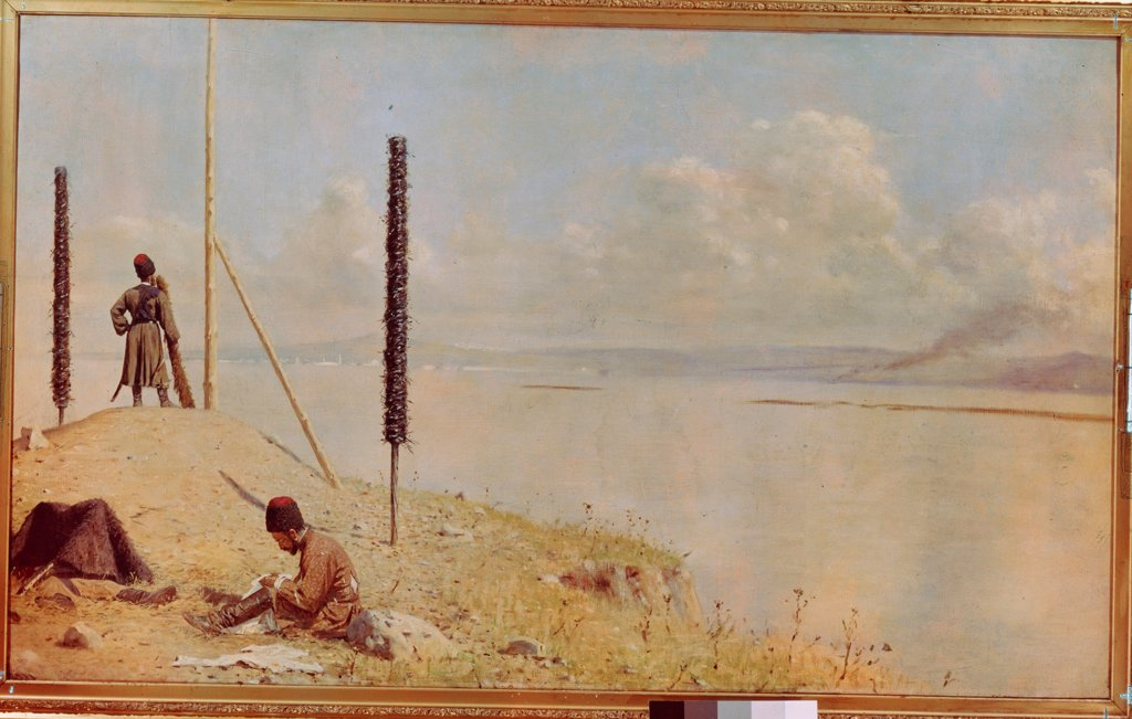 Picket On The Danube by Vereshchagin, Vasili Vasilyevich (1842-1904)\ Museum of Russian Art, Kiev\ 1878-1879\ Oil on canvas\ 120x200\ Russia\ Realism\ Genre,History\ Painting : Stock Photo