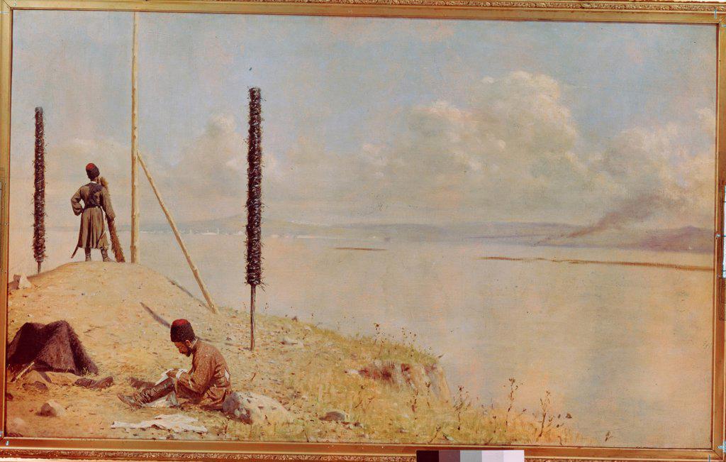 Stock Photo: 4266-24466 Picket On The Danube by Vereshchagin, Vasili Vasilyevich (1842-1904)\ Museum of Russian Art, Kiev\ 1878-1879\ Oil on canvas\ 120x200\ Russia\ Realism\ Genre,History\ Painting