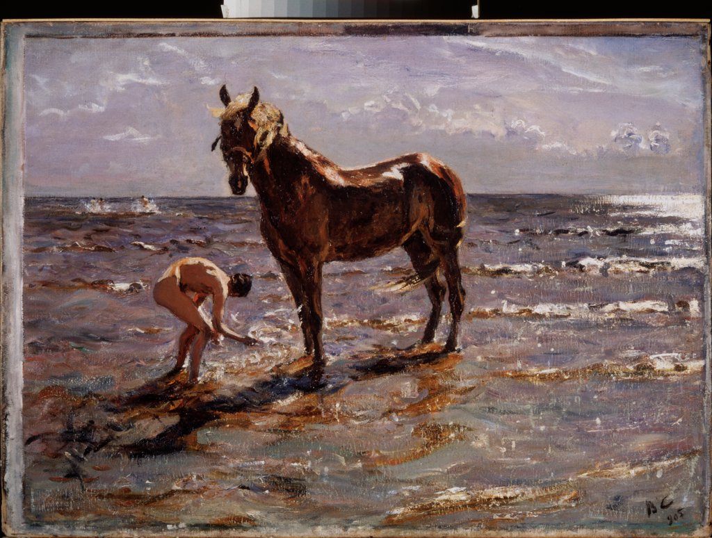 Stock Photo: 4266-24475 Bathing the horse by Serov, Valentin Alexandrovich (1865-1911)\ State Russian Museum, St. Petersburg\ 1905\ Oil on canvas\ 72x99\ Russia\ Russian Painting, End of 19th - Early 20th cen.\ Genre\ Painting