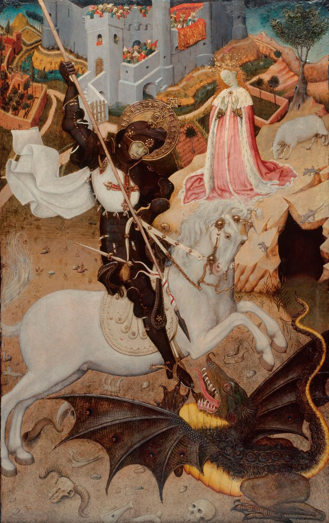 Saint George Killing the Dragon by Martorell, Bernat, the Elder (1390-1452)\ Art Institute of Chicago\ 1434-1435\ Tempera on panel\ 55,6x98,1\ Spain\ Gothic\ Bible\ Painting : Stock Photo