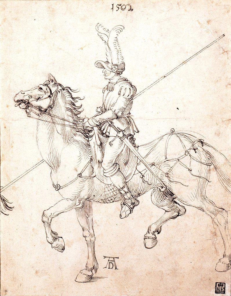 Stock Photo: 4266-24531 Lancer on Horseback by Durer, Albrecht (1471-1528)\ Szepmuveszeti Muzeum, Budapest\ 1502\ Pen, brown Indian ink on paper\ 27,2x21,5\ Germany\ Renaissance\ Genre\ Graphic arts