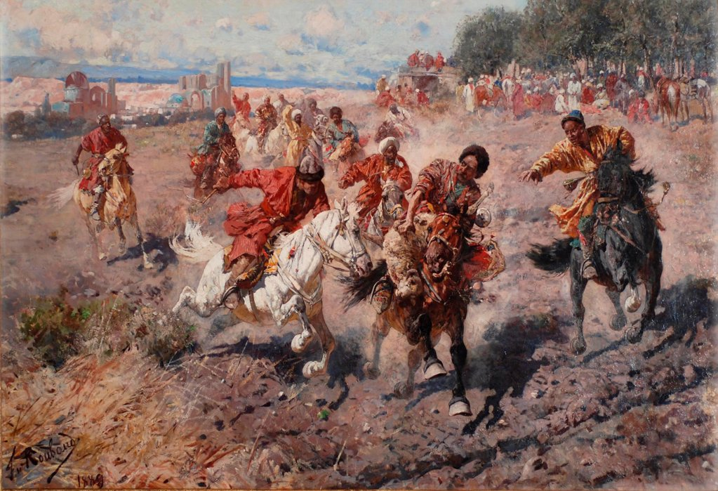 Cherkess Celebrating the end of Muharram with the Equestrian Sport of the Dash for the Prize Lamb by Roubaud, Franz (1856-1928)\ Private Collection\ 1889\ Oil on canvas\ 104x182,9\ Russia\ Orientalism\ Genre\ Painting : Stock Photo