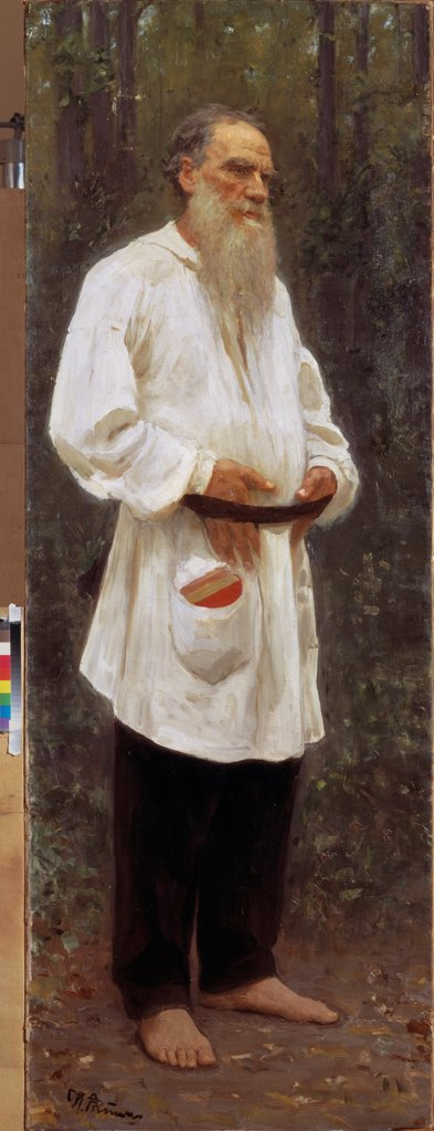 Stock Photo: 4266-24551 The author Leo Tolstoy barefooted by Repin, Ilya Yefimovich (1844-1930)\ State Russian Museum, St. Petersburg\ 1901\ Oil on canvas\ 207x73\ Russia\ Russian Painting, End of 19th - Early 20th cen.\ Portrait\ Painting