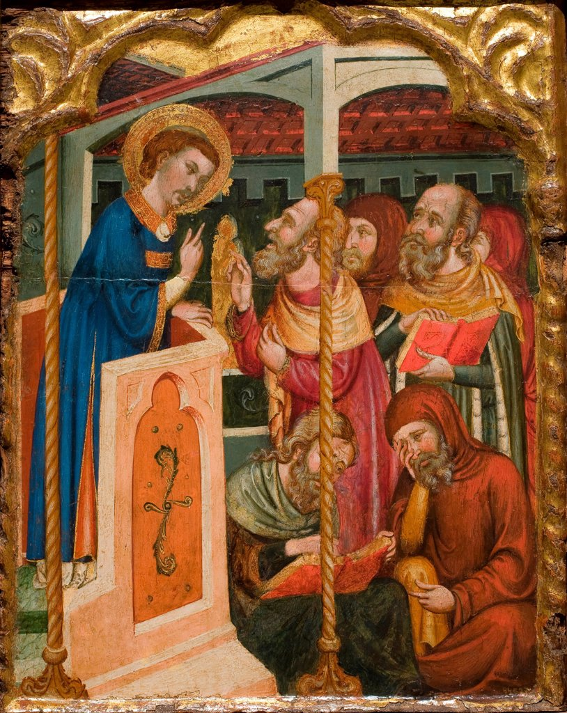 Stock Photo: 4266-24562 Saint Stephen's Dispute with the Jews by Ferrer and Arnau Bassa, (Circle) (active 1340-1360)\ Museu Nacional d'Art de Catalunya, Barcelona\ ca 1350\ Tempera on panel\ 55x44\ Spain\ Gothic\ Bible\ Painting